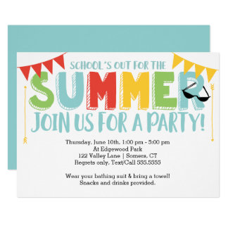 Summer Party, School's Out Primary Colors Card