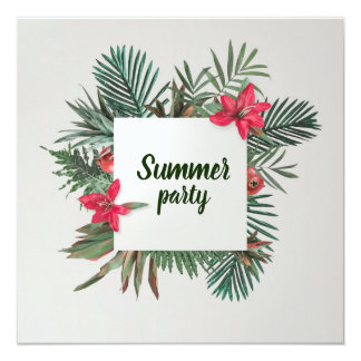 Summer party tropical plants invitation