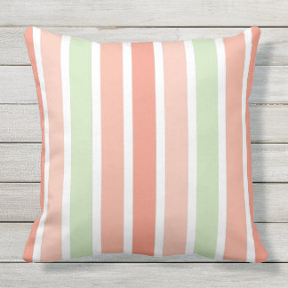 Summer Pastel Melon Stripes Outdoor Pillow