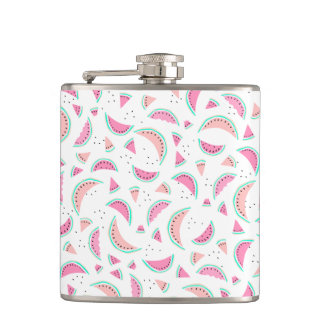 Summer pastel pink coral turquoise watermelons hip flask