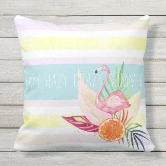 Summer Pastel Stripe, Flamingo, Tropical Outdoor Pillow