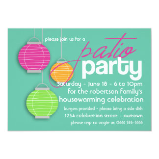 Summer Patio Party Housewarming Invitations