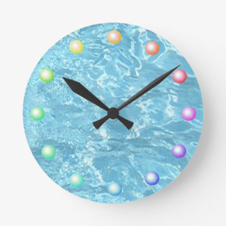 Summer Patio Pool Blue Water Sparkling Sunlight Wall Clocks