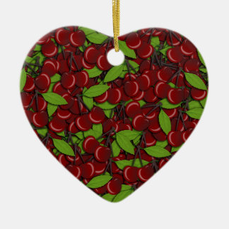Summer pattern - Cherries Ceramic Heart Ornament