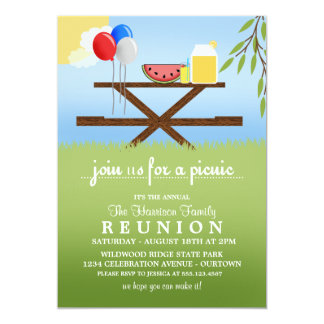 "Summer Picnic Family Reunion  Invitations 5"" X 7"" Invitation Card"