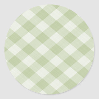 Summer Picnic Gingham Checkered Tablecloth: Green Round Sticker