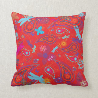 """""""Summer Picnic"""" Retro Red Two Patterned American M Throw Pillow"""