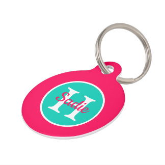 Summer Pink and Island Sea Polka Dot Monogram Pet Tag