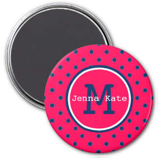 Summer Pink and Navy Blue Polka Dot Monogram Magnet
