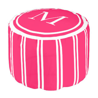 Summer Pink and White Double Stripe Monogram Pouf