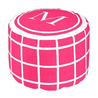 Summer Pink and White Lattice Monogram Pouf