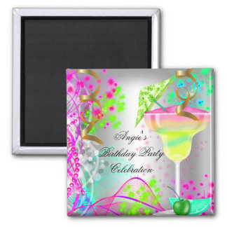 Summer Pink Birthday Party Colourful Cocktail Square Magnet