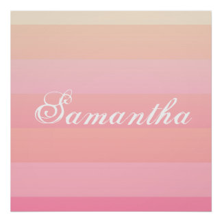 Summer Pink & Coral Gradient Color Block Monogram Poster