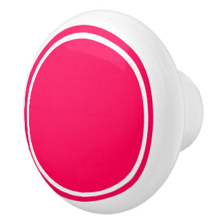 Summer Pink Dot on White Ceramic Knob