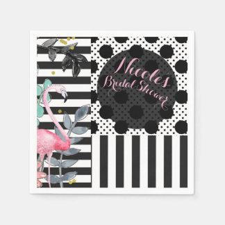 Summer Pink Flamingo Polka Dot Fun Funky Party Paper Napkin