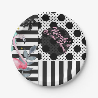 Summer Pink Flamingo Polka Dot Fun Funky Party Paper Plate