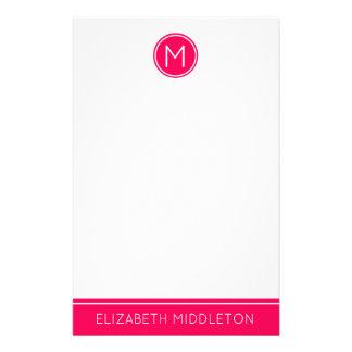 Summer Pink Monogram on White Stationery