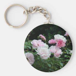 Summer pink rose flowers basic round button keychain