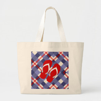 Summer Plaid with Red Flip Flops Large Tote Bag