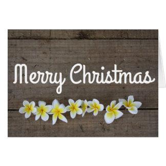 Summer plumeria Merry Christmas Holiday Card