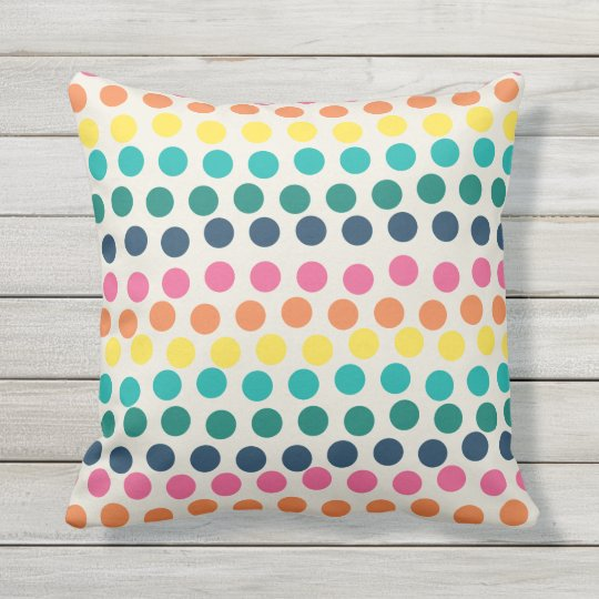 Summer Polka Dots Colourful Outdoor Pillow