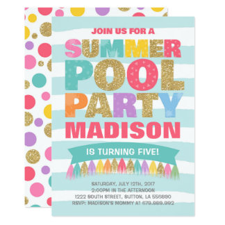 Summer Pool Party Invitation Pool Birthday Party