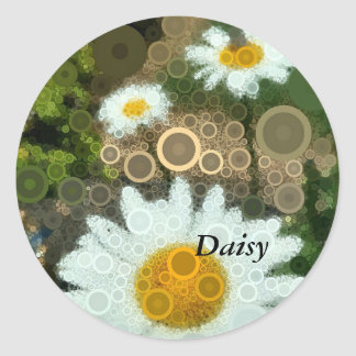 Summer Pop Art Concentric Circles Daisy Favors Classic Round Sticker