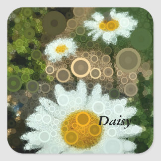 Summer Pop Art Concentric Circles Daisy Gift Wrap Square Sticker