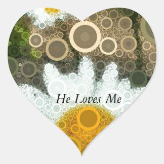 Summer Pop Art Concentric Circles Daisy Heart Sticker