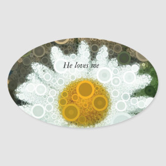 Summer Pop Art Concentric Circles Daisy Oval Sticker