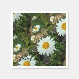 Summer Pop Art Concentric Circles Daisy Party Disposable Napkins