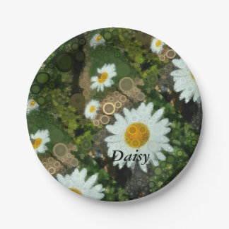 Summer Pop Art Concentric Circles Daisy Party Paper Plate