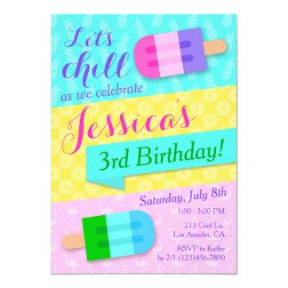 Summer Popsicle Girls Birthday Party Invitation