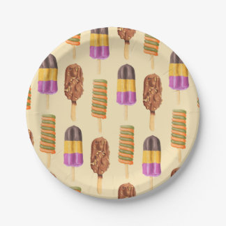 Summer Popsicle Treat Dessert Pattern 7 Inch Paper Plate