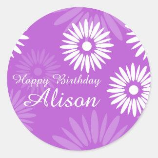 Summer Purple flowers Happy Birthday Name sticker