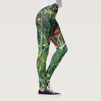 Summer Reblooming Daylily Garden Leggings