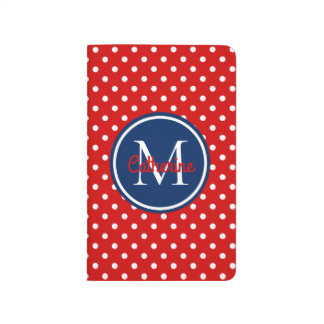Summer Red and Navy Blue Polka Dot Monogram Journal