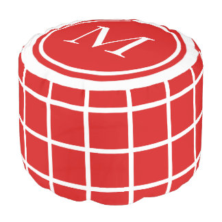 Summer Red and White Lattice Monogram Pouf