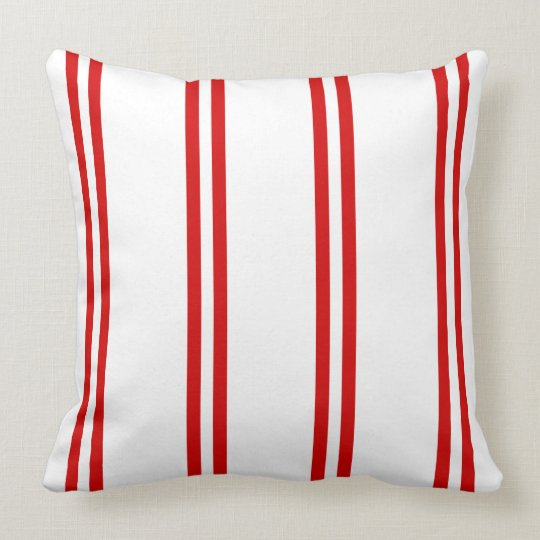 Summer Red Double Stripes on White Throw Pillow