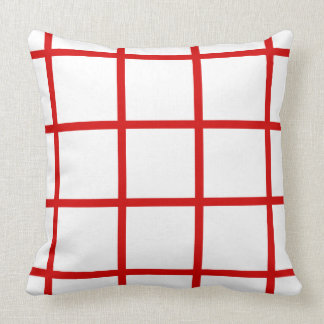 Summer Red Grid Stripes on White Throw Pillow