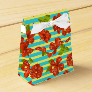 Summer Red Hibiscus Seamless Pattern Favor Box