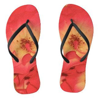 Summer Red Roses Flip Flops