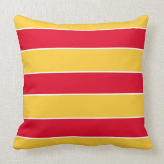 Summer Red Stripes on Sunset Yellow Throw Pillow