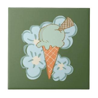 Summer Retro Ice Cream Cone on Kale Ceramic Tile