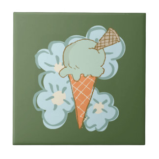 Summer Retro Ice Cream Cone on Kale Tile