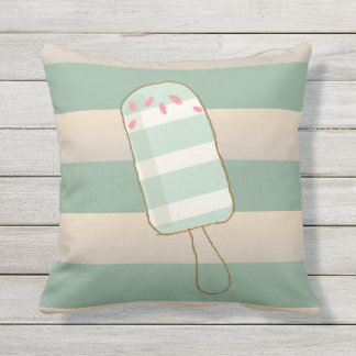 Summer Retro Ice Creams, Cabana Stripes Outdoor Pillow