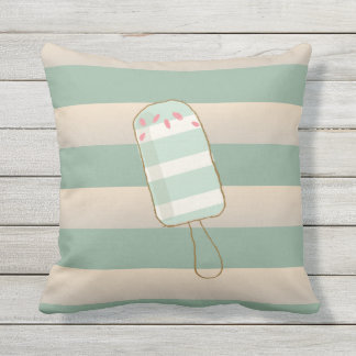 Summer Retro Ice Creams, Cabana Stripes Throw Pillow