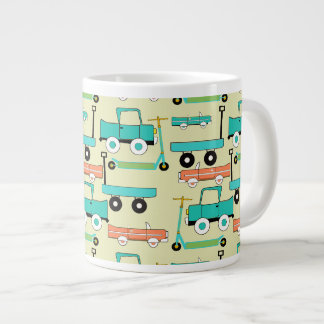 Summer Retro Wheels Scooters Cars Wagons Trucks Large Coffee Mug
