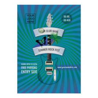 Summer Rock Festival add logo invitation Poster