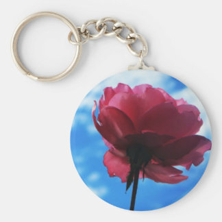 Summer Rose Basic Round Button Keychain